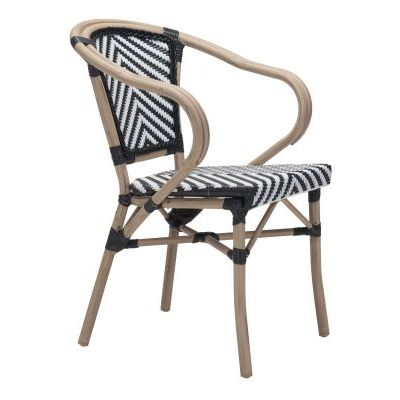 Paris Dining Arm Chair Black & White - 703802