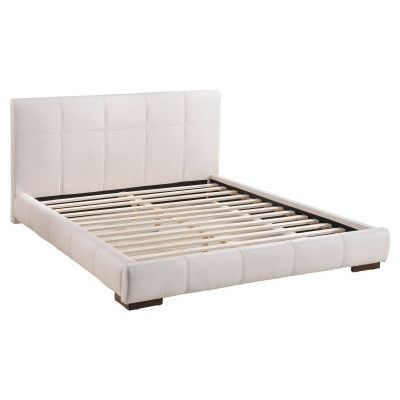 Faux Leather Upholstered King Platform Bed in White - 800211