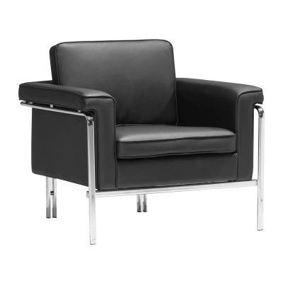Singular Faux Leather Club Aaron's Chair in Black - 900160