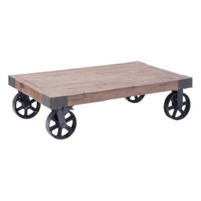 Barbary Coast Cart Table in Distressed Natural - 98130