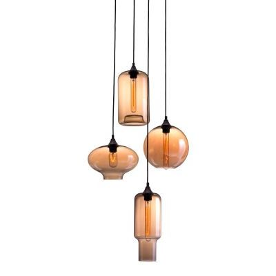 Lambie Ceiling Lamp in Rust & Amber with Metal Finish - 98425