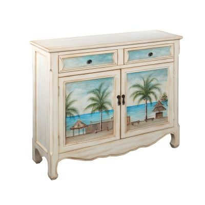 Two Drawer Two Door Cupboard in Seaview finish - 14124
