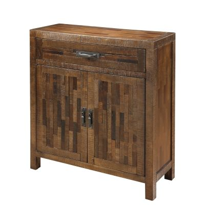 One Drawer Two Door Cabinet in Rustic Brown - 23133