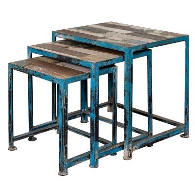 Wood & Iron Nesting Tables with Distressed Multicolor Finish - 39511