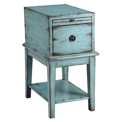 One Drawer Chest in Bayberry Blue Rub-through - 39626