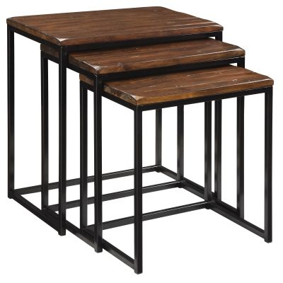 Nesting Tables in Blaisdell Rustic Black and Brown - 39677