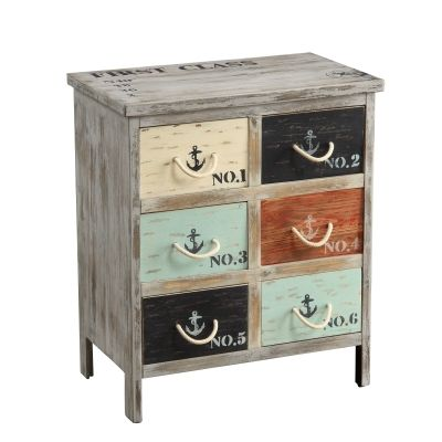 Six Drawer Chest in Bayview Grey Multicolor - 46293