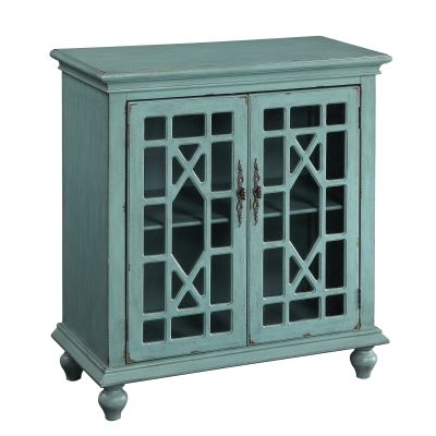 Two Door Cabinet in Bayberry Blue Rub-through - 50694