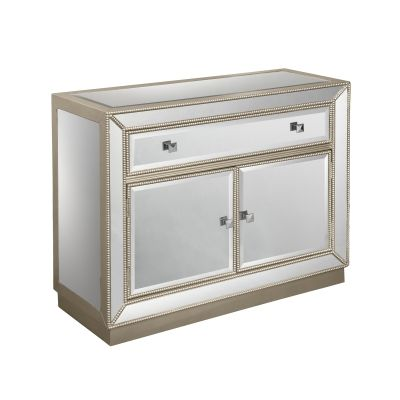 One Drawer Two Door Cabinet in Estaline Silver and Mirror - 50708