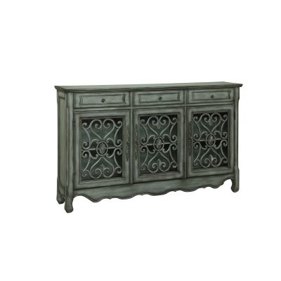 3 Drawer 3 Door Credenza in Hood Grey and Pewter Metal - 56417