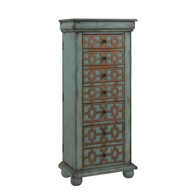Jewelry Armoire Keller Blue with Gold - 67415