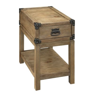 One Drawer Chairside Table in Carmel Burnished Natural - 67457