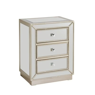 Three Drawer Chest in Elsinore Silver and Mirror - 67508