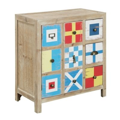 One Door Three Drawer Chest in Harbours Multicolor - 91730