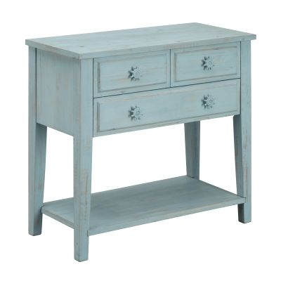 Three Drawer Console Table in Breakers Blue Rub - 91733