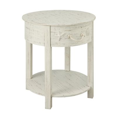 One Drawer Accent Table in Sanibel White Rub - 91735