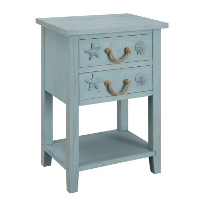 Two Drawer Chest in Breakers Blue Rub - 91737