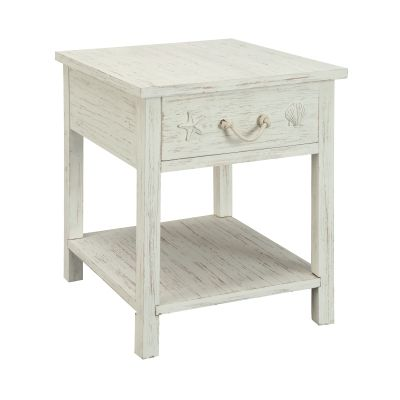 One Drawer End Table in Sanibel White Rub - 91740