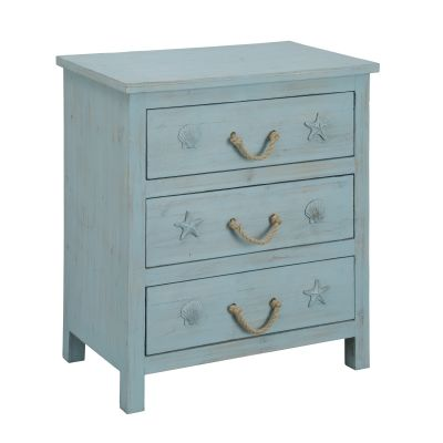 Three Drawer Chest in Breakers Blue Rub - 91744