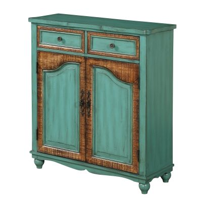 Two Door Two Drawer Cabinet in Bandera Burnished Green - 91807