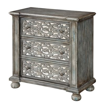 Three Drawer Chest in Midvale Textured Grey Blue - 91838