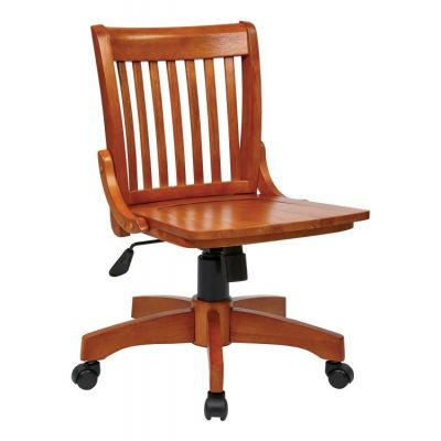 Deluxe Armless Wood Bankers Chair in Fruitwood Finish - 101FW