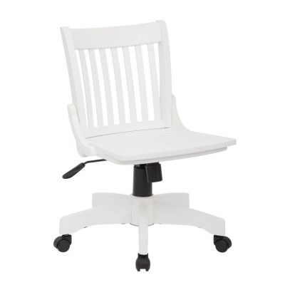 Deluxe Armless Wood Bankers Chair in White Finish - 101WHT