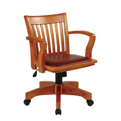 Deluxe Wood Banker's Chair in Fruitwood Brown Finish - 108FW-1