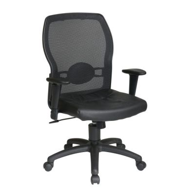 Woven Mesh Back and Leather Seat in Black - 599402