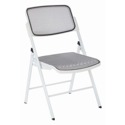 ProGrid Mesh Seat and Back Folding Chair in White - 81101