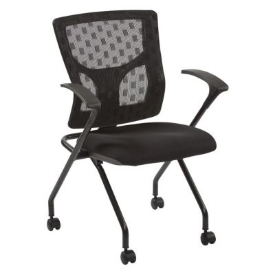 ProGrid Checkered Mesh Back Folding Chair in Black& Coal - 84230-30
