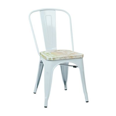 Bristow Metal Chair with Vintage Wood Seat in White - BRW2911A4-C305