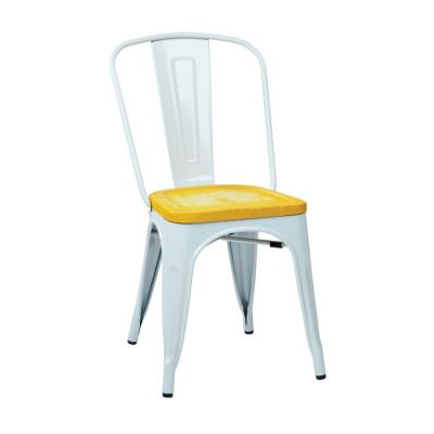 Bristow Metal Chair with Vintage Wood Seat in White - BRW2911A4-C308