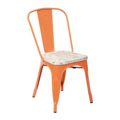 Bristow Metal Chair with Vintage Wood Seat in Orange - BRW2918A4-C309