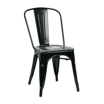 Bristow Metal Chair with Vintage Wood Seat in Black - BRW293A2-C306