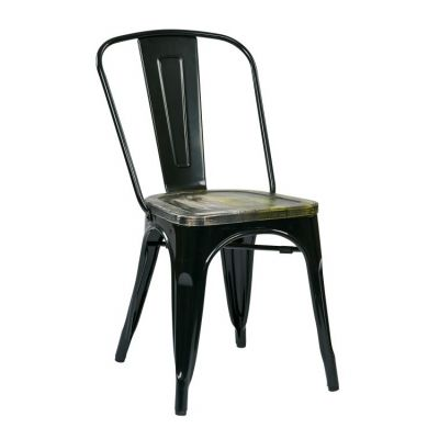 Bristow Metal Chair with Vintage Wood Seat in Black - BRW293A4-C301