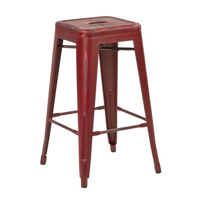 Bristow 26'' Metal Barstools in Antique Red - BRW3026A2-ARD