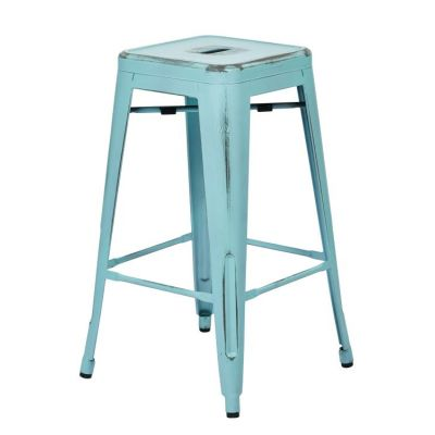 Bristow 26'' Metal Barstools in Antique Sky Blue - BRW3026A2-ASB