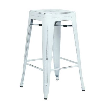 Bristow 26'' Metal Barstools in Antique White - BRW3026A2-AW