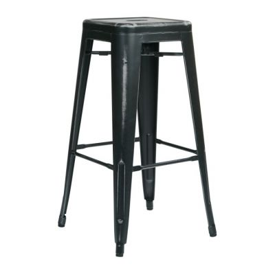 Bristow 30'' Metal Barstool in Antique Black - BRW3030A2-AB