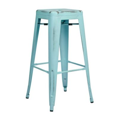 Bristow 30'' Metal Barstool in Antique Sky Blue - BRW3030A2-ASB