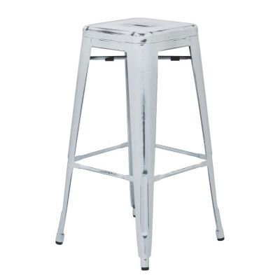 Bristow 30'' Metal Barstool in Antique White - BRW3030A2-AW