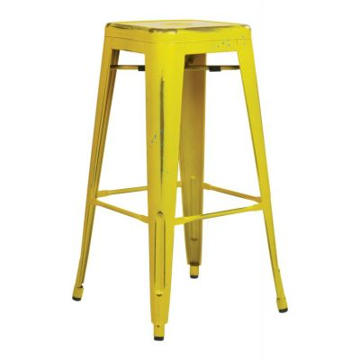 Bristow 30'' Metal Barstool in Yellow with Blue Specks - BRW3030A2-AY