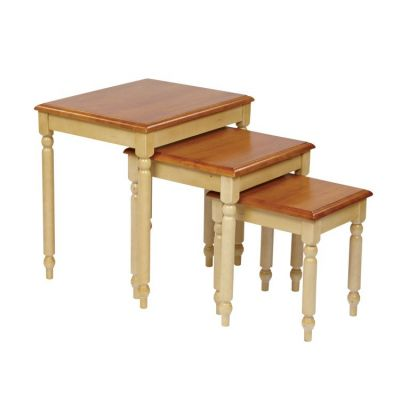 3pc. Nesting Tables in Country Buttermilk & Cherry - CC19