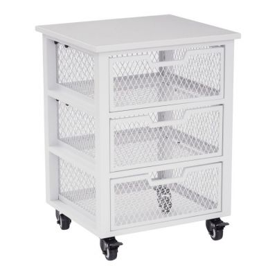 Clayton 3 Drawer Rolling Cart in White - CLY03AS-11