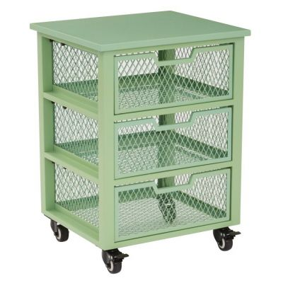Clayton 3 Drawer Rolling Cart in Green - CLY03AS-6
