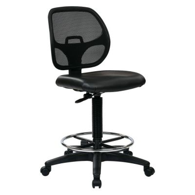 Deluxe Drafting Chair with 20'' Diameter Foot ring in Black - DC2990V