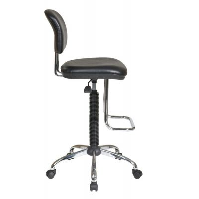 Chrome Economical Chair with Teardrop Footrest in Black - DC420V-3