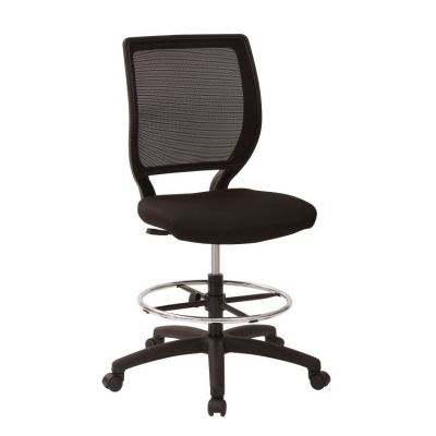Deluxe Woven Mesh Back Armless Drafting Chair in Black - DC51000N-231