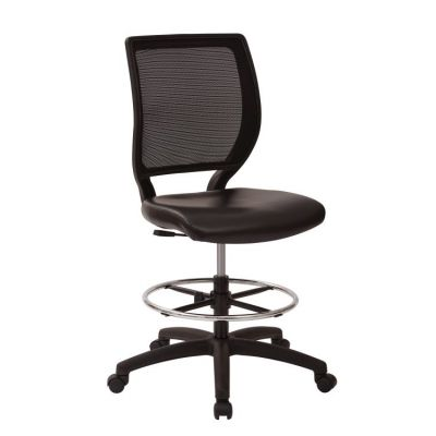 Deluxe Woven Mesh Back Armless Drafting Chair in Black - DC51000NV-3